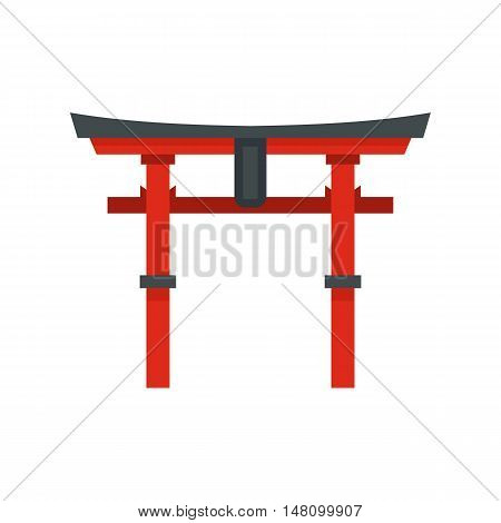 Japan gate icon in flat style on a white background vector illustration