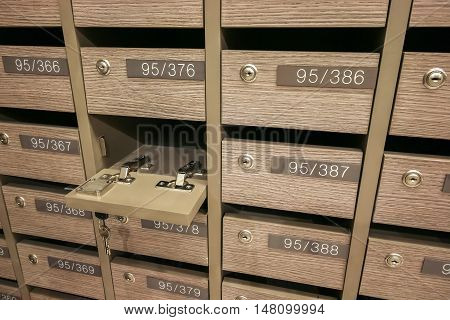 Opened Locker MailBoxes postal for keep your information billspostcardmails etc condominium mailbox regulations