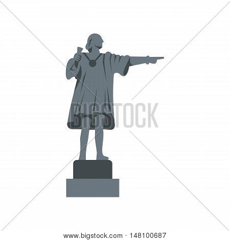 Christopher Columbus Statue icon in flat style on a white background vector illustration