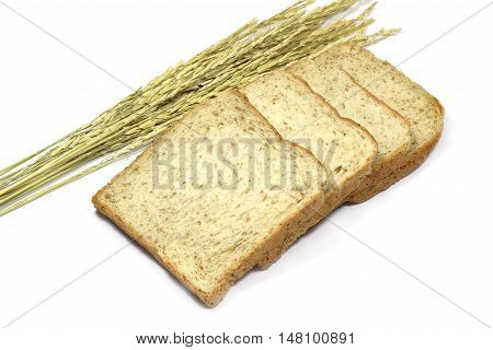 Square Slice Of Fresh Whole Grain Meal Bread. Detailed Bread Texture With Ears