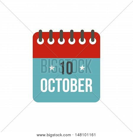 Columbus Day calendar, 10 october icon in flat style on a white background vector illustration