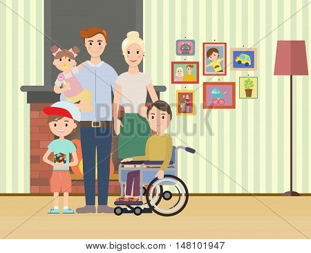 Portrait of happy family with special needs child. Big family vector illustration. Big family with children at home.