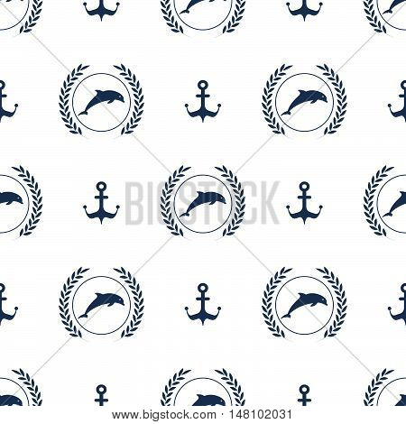 Maritime mood, Seamless nautical pattern with dolphins and anchors