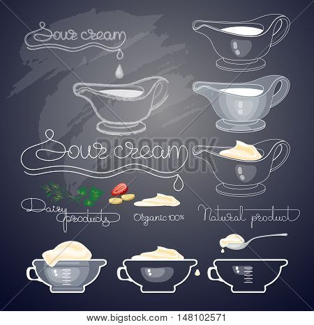 Vector illustration with sour cream, handwritten words, spoons, jug and glass bowl on black background. Sauce dish, boat with cream.