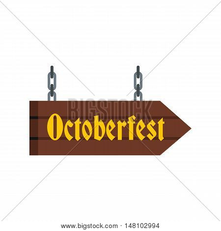 Octoberfest direction sign icon in flat style on a white background vector illustration