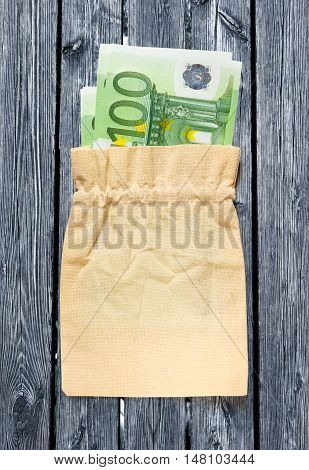 One Hundred Euro Banknotes In Linen Sack
