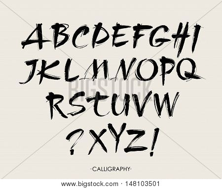 Vector Acrylic Brush Style Hand Drawn Alphabet Font. Calligraphy alphabet on a beige background