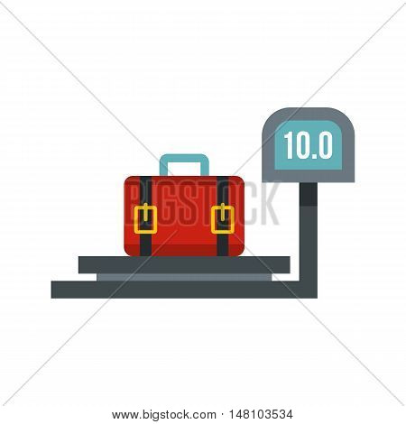 luggage weighing icon in flat style on a white background vector illustration