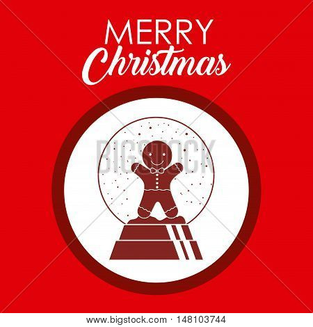 Coockie inside circle icon. Merry Christmas season and decoration theme. Colorful design. Vector illustration