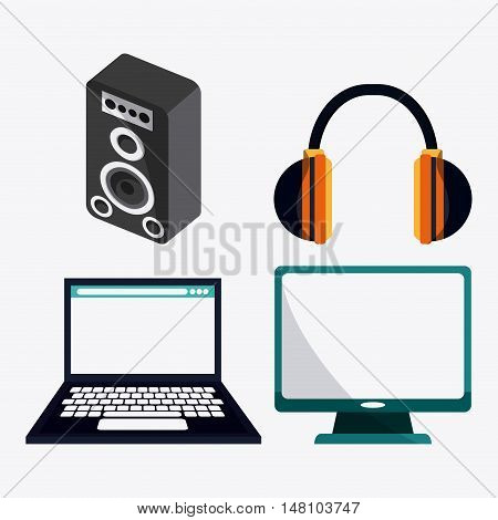 Speaker laptop computer and headphone icon. Music online and media  theme. Colorful design. Vector illustration