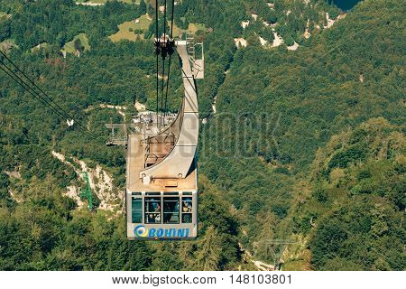 BOHINJ LAKE SLOVENIA - AUGUST 24 2016: Vogel cable car is public transportation in Triglav national park it takes passengers to a height of more than 1500 metres above sea level.