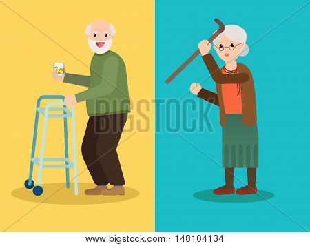 Grandmother scolds grandfather, Grandpa drinks whiskey with ice. Grandma and Grandpa have fun. Vector illustration of a flat design.
