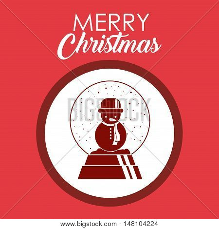 Snowman inside circle icon. Merry Christmas season and decoration theme. Colorful design. Vector illustration