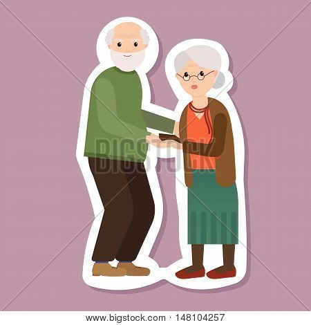 Portrait of happy grandparents day design, vector illustration. Grandparents greeting card. Grandfather and Grandmother flat design.