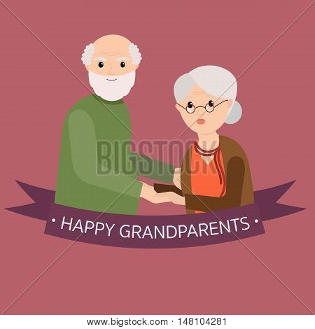 Happy grandparents in vector cartoon illustration. Grandparents day. Grandpa and grandma standing full length smiling. Elderly couple. Love.