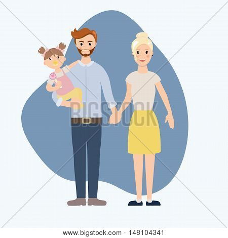 Young family with baby girl on arms vector illustration. Family members near their home. Typical family. People couple, people family together concept.