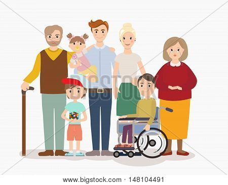 Big modern family vector illustration. Big family with children, parents, grandparents and with special needs child. Family portrait on white background.