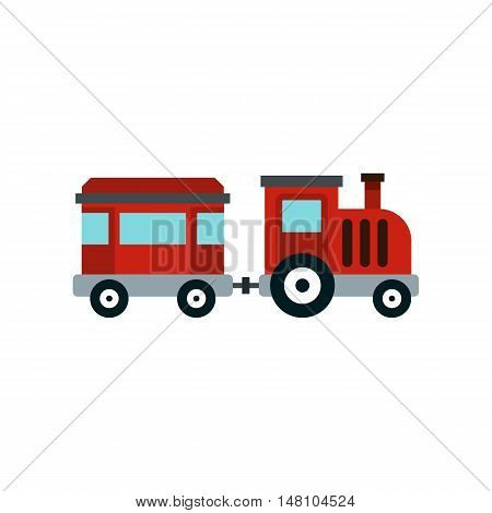 Children train for walks in the amusement park icon in flat style on a white background vector illustration
