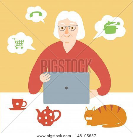 Lovely cartoon old lady using internet on laptop. Vector illustration for your design.