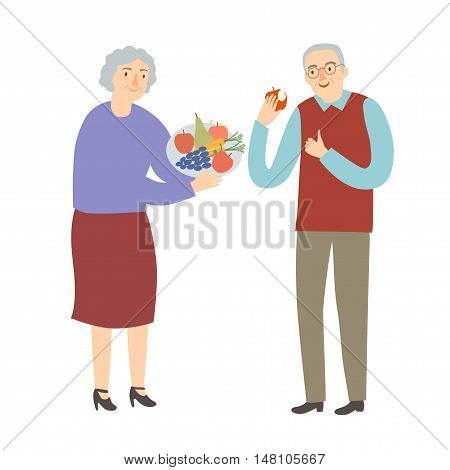Old man and woman eating fruits and vegetables. Healthy lifestyle vector illustration for your design.