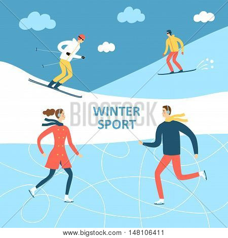 Winter activities cartoon illustration. Active people skating and skiing outdoor. Winter illustration for your design.
