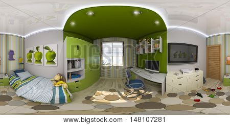 3d illustration spherical 360 degrees seamless panorama of children's room interior design. Design a child's room is in green and blue tones
