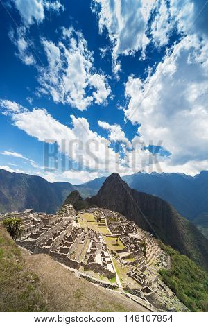 Macchu Picchu ancient town on a sunny day