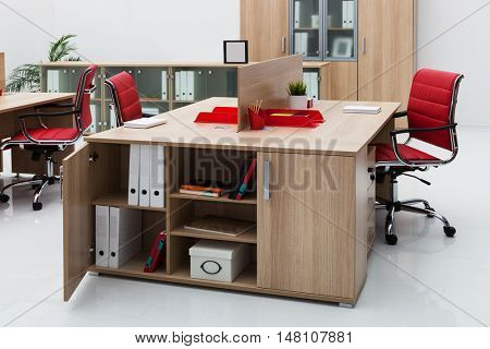 red leather armchair in a modern office