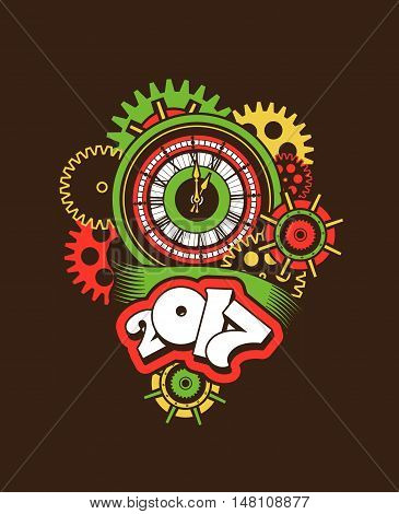 vector illustration of a clock face surrounded by mechanical parts and wrap holiday banner digits of the year