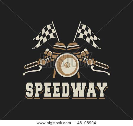vector illustration emblem Racing a motorcycle on a black background