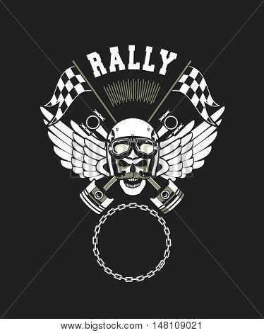 vector skull emblem in the helmet with the pistons on a white background Black background
