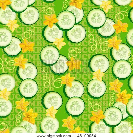 Seamless texture with  flower and slices cucumber on green background. Vector illustration.  Floral texture with natural elements. Flat style healthy food.
