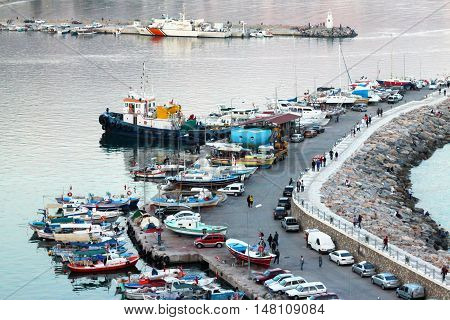 Autumn view of the harbor in Alanya. Turkey.