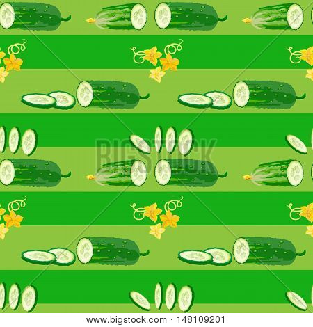 Seamless texture with cucumber, flower and slices on green background. Vector illustration.  Floral texture with natural elements. Flat style healthy food.