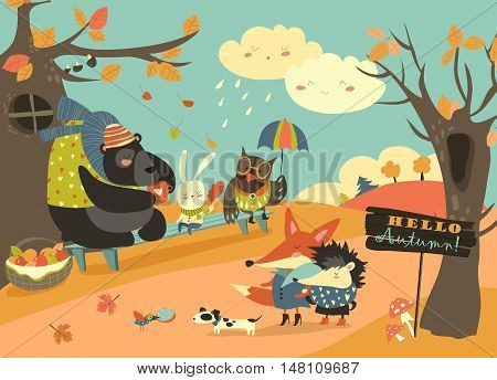 Cute animals walking in autumn forest. Vector illustration