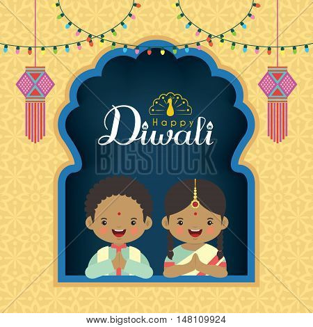 Diwali / Deepavali vector greeting illustration. Cute indian kids with colorful light bulbs and india lanterns. Festival of Lights celebration.