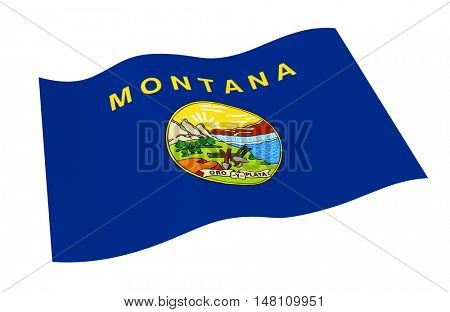 Montana flag isolated on white background. 3D illustration.