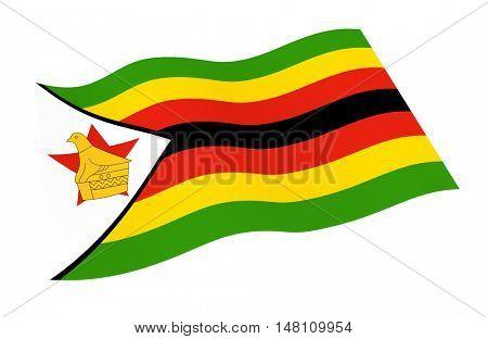 Zimbabwe flag isolated on white background. 3D illustration.