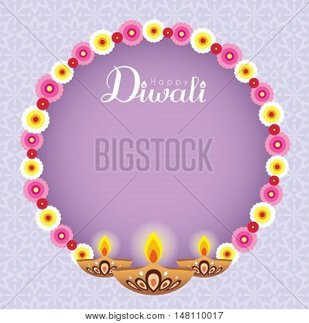 Diwali / Deepavali greeting with beautiful floral wreath and burning diya (india oil lamp) on purple pattern background. Festival of lights vector illustration. Diwali message board.
