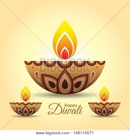Diwali or Deepavali greeting with beautiful burning diwali diya (india oil lamp). Festival of Lights celebration vector illustration.