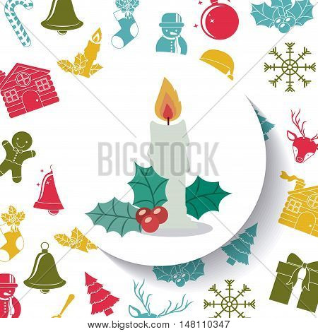 Candle inside circle icon. Merry Christmas season and decoration theme. Colorful design. Vector illustration
