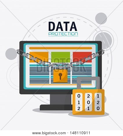 Computer and padlock icon. Data protection cyber security system and media theme. Colorful design. Vector illustration