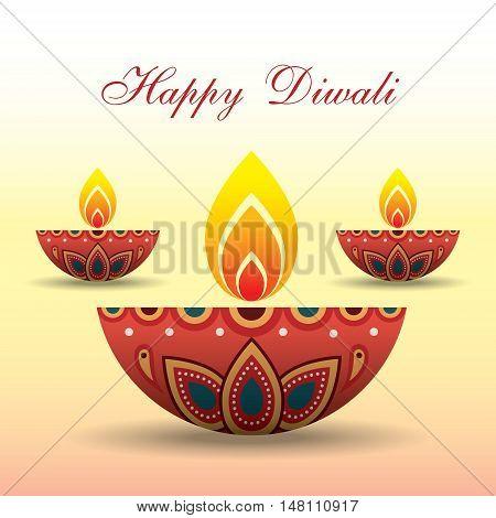 Diwali or Deepavali greeting with beautiful burning diwali diya (india oil lamp). Festival of Lights celebration vector illustration.