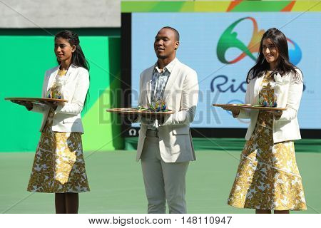 RIO DE JANEIRO, BRAZIL - AUGUST 14, 2016: Tennis women's doubles final medal ceremony at the Maria Esther Bueno Court of the Rio 2016 Olympic Games at the Olympic Tennis Centre