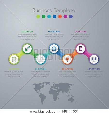 Vector illustration infographics timeline seven options. Stock vector