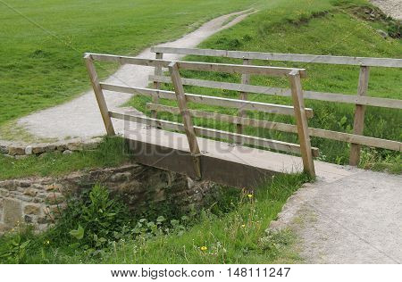 A Narrow Wooden Footbridge Over a Small Stream.