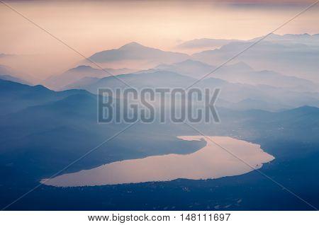famous Kawaguchi lake in Japan by early morning
