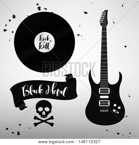 Set of rock and roll music signs elements labels. Music theme. Template for poster cafe banner or your art works.