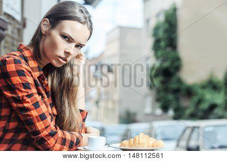 Pretty Girl In Cafe