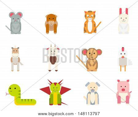 Set of isolated icons of funny animals on a white background. Vector illustration